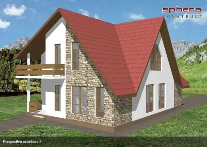 case cu fatada din piatra Houses with stone veneer facades 12