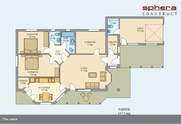 case cu parter si 3 dormitoare three bedroom house plans 4