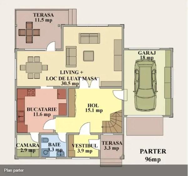 case mici cu garaj si mansarda Small houses with attic and garage 12