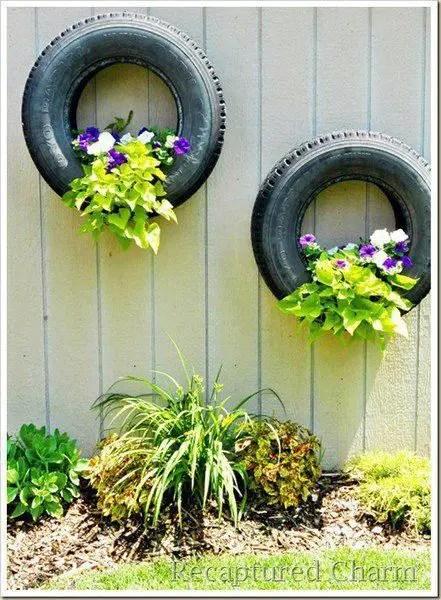gradini amenajate cu cauciucuri old tire outdoor ornaments 15