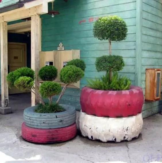 gradini amenajate cu cauciucuri old tire outdoor ornaments 2