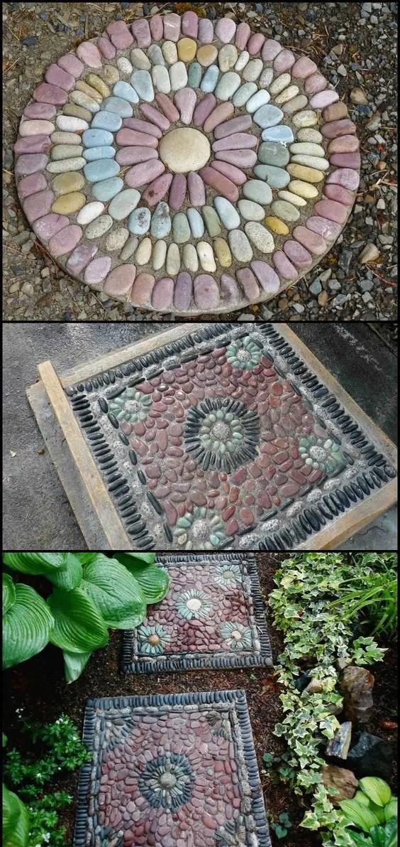 amenajarea gradinii cu pietris Pebble garden decoration ideas 1