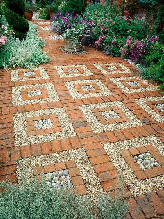 amenajarea gradinii cu pietris Pebble garden decoration ideas 14