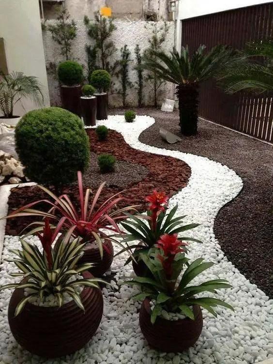 amenajarea gradinii cu pietris Pebble garden decoration ideas 2