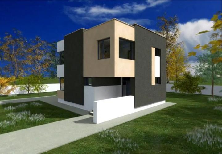 Proiecte de case cu etaj sub 150 de metri patrati - design modern, indraznet