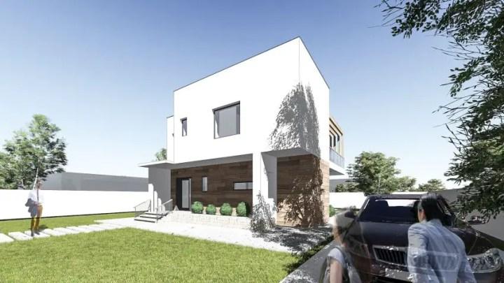 Proiecte de case cu etaj sub 150 de metri patrati - arhitectura cubista