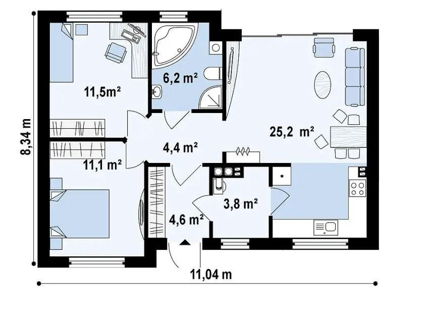 Proiecte de case de 60 70 mp strictul necesar case practice - Square meter house plans ...