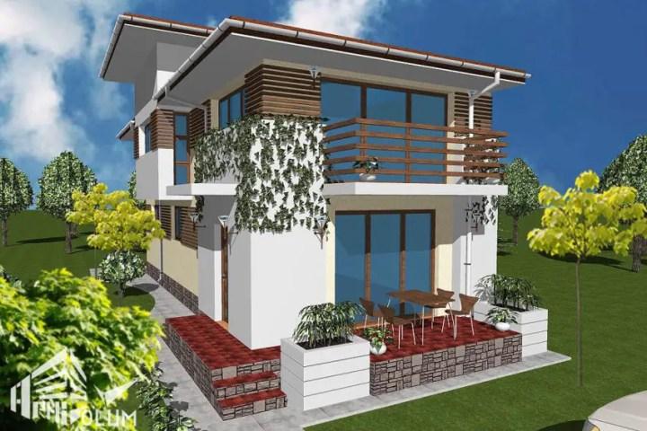 Casa mica pe teren ingust, casa cuplata, casa pe limita de proprietate, casa cu calcan, casa pe lot mic, casa pe teren cu deschidere mica.