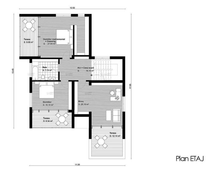 case medii pe doua nivele Medium sized two story house plans 13