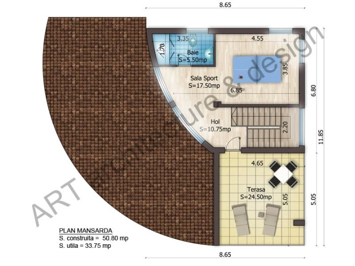 case mici cu etaj si mansarda Three story house plans 10
