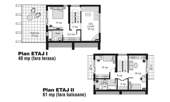 case mici cu etaj si mansarda Three story house plans 4