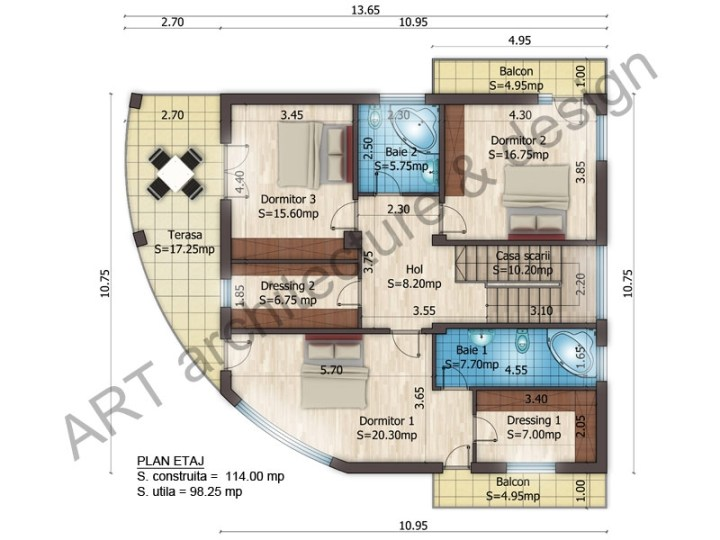 case mici cu etaj si mansarda Three story house plans 9