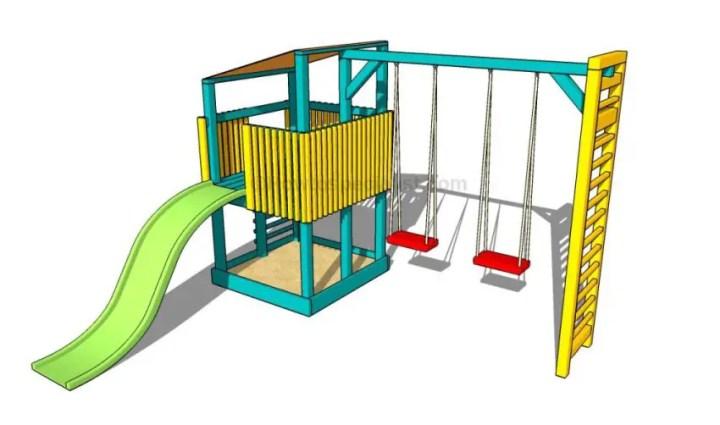 constructia unui mic loc de joaca pentru copii How to build an outdoor wooden playground 9