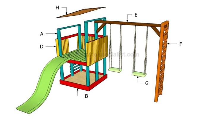 constructia unui mic loc de joaca pentru copii How to build an outdoor wooden playground