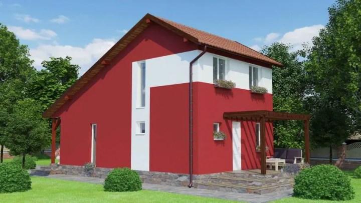 Proiecte de case economice - fatade intense din punct de vedere cromatic