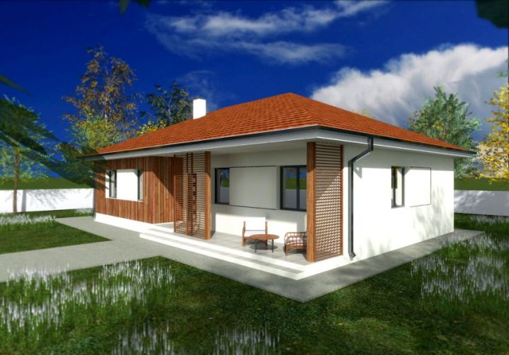 Proiecte de case cu parter si finisaje exterioare din lemn Single floor houses with exterior wood finishes 2
