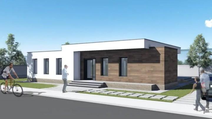 Proiecte de case cu parter si finisaje exterioare din lemn - design modern