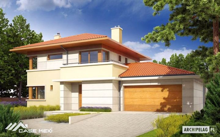 case cu etaj si garaj integrat Two story flat roof houses with garage 5
