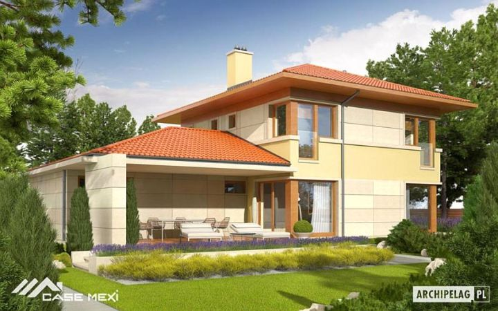 case cu etaj si garaj integrat Two story flat roof houses with garage 6