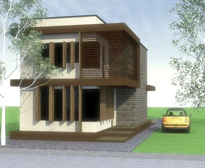 Case ieftine cu etaj - fatade in lemn si piatra