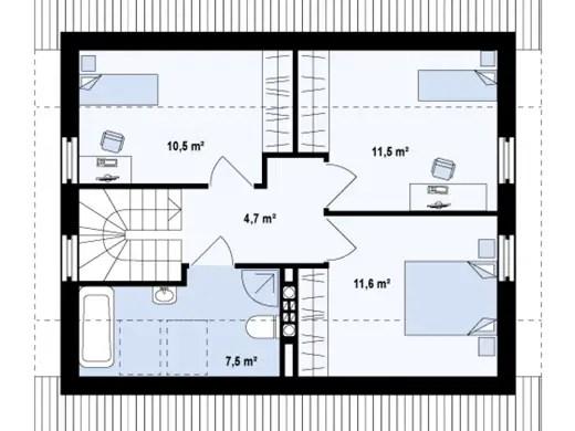 case simple cu mansarda plan etaj