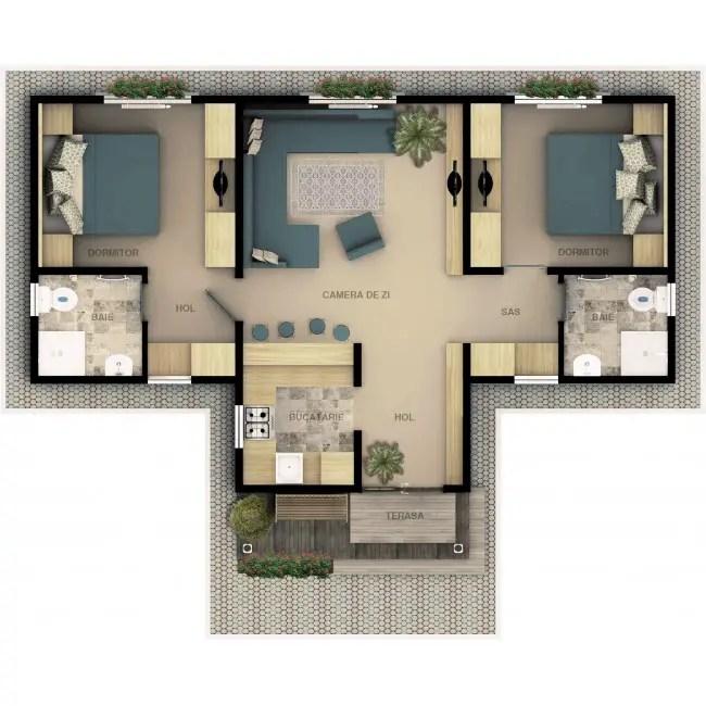 case ieftine din prefabricate doua camere plan