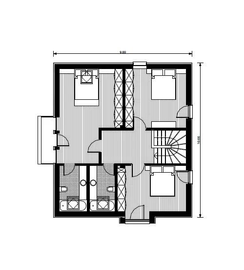 case mici cu trei dormitoare 1 plan etaj