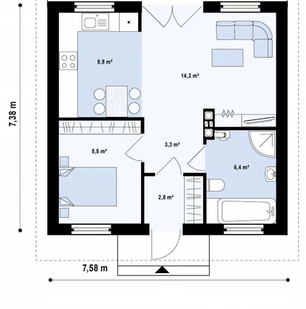 Case pentru un cuplu tanar casa ta cu curte la pret de for Proiect casa 2 camere living baie si bucatarie