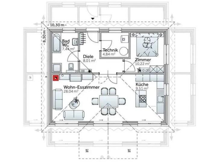 case cu un singur dormitor 1 plan