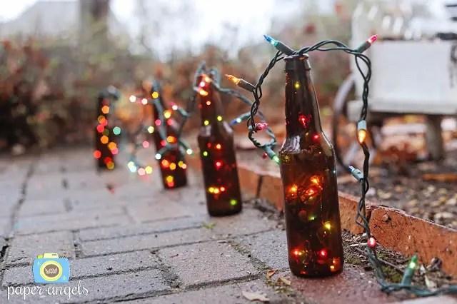 ornamente de sarbatori in gradina lumini la sticla