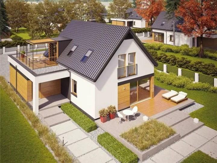 case cu terasa deasupra garajului