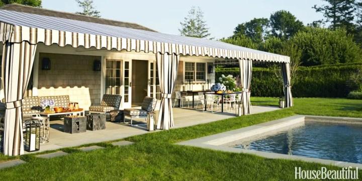 idei de amenajare a terasei cu piscina