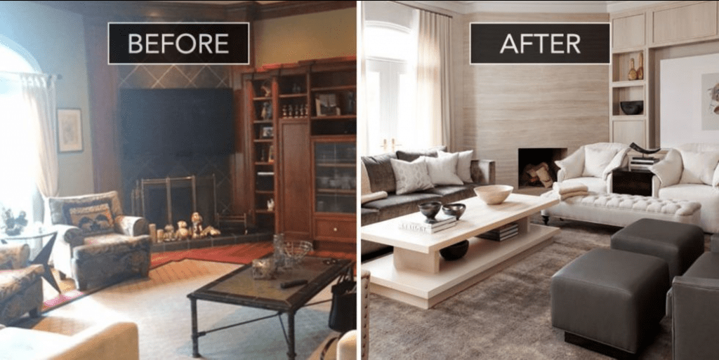 Pretty Living Room Accent Wall With Fireplace Or Bedroom Accent Old Homes Before And After | Case Design/remodeling Of San