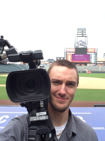 Filming at Coors Field