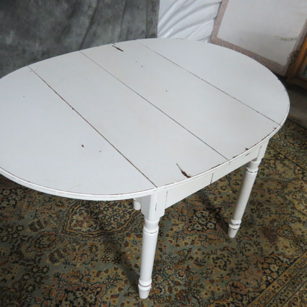 thomasville sofa table with stools tufted nailhead white shabby chic drop-leaf - casey and gram