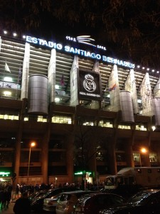 Santiago Bernabéu at night