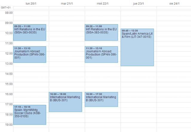 Schedule Spring 2014