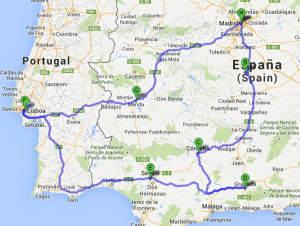 Map of our trip around southern Spain and Lisbon