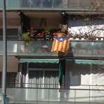 Estelada flag representing Catalan independentists that we saw waving a lot; it's distinct from the flag of Catalonia.