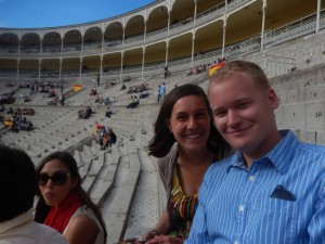 Sarah and I before the corrida de toros