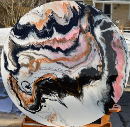 FLUTTER- 44-inch diameter, wood panel. Acrylic, pigment, ink and resin.