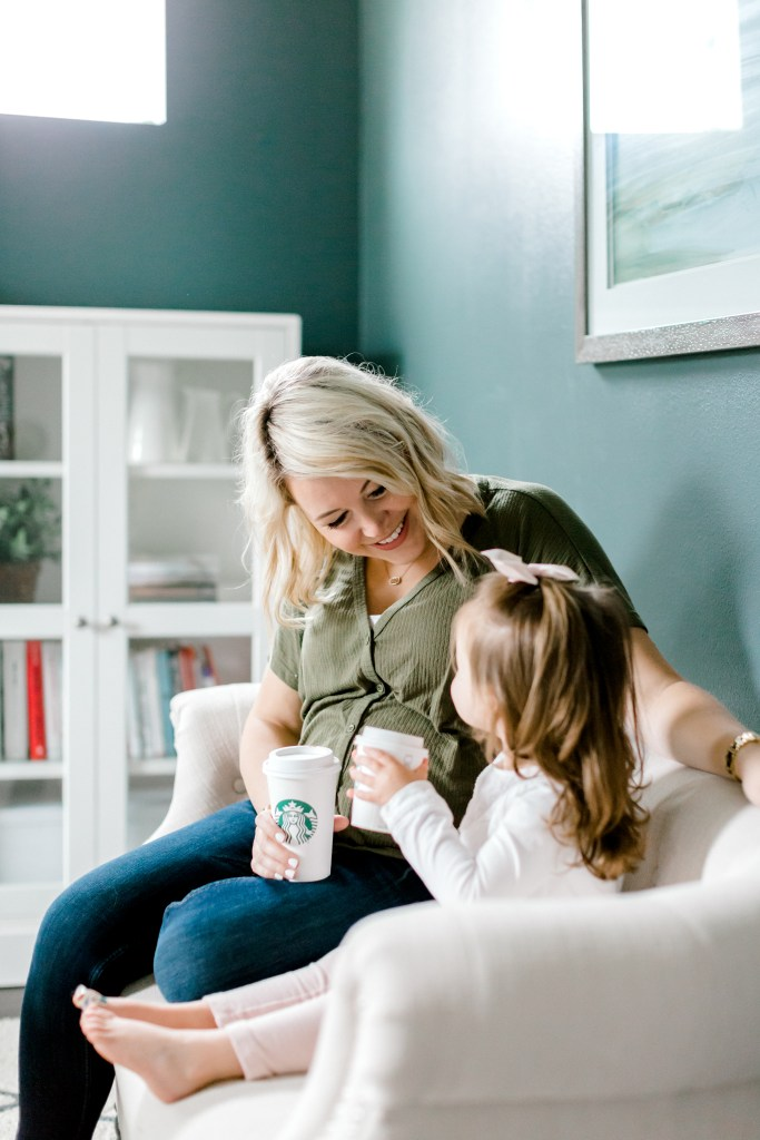 Crystal Rausch of Nobility Leadership enjoying a cup of Starbucks coffee with her daughter