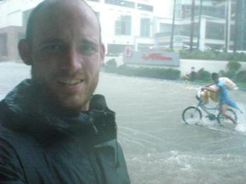 In Manila, the Philippines, during a flood.