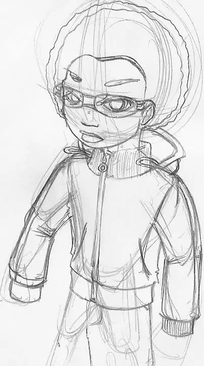 A stiff sketch of Doomz from Fish 'n' Chimps.