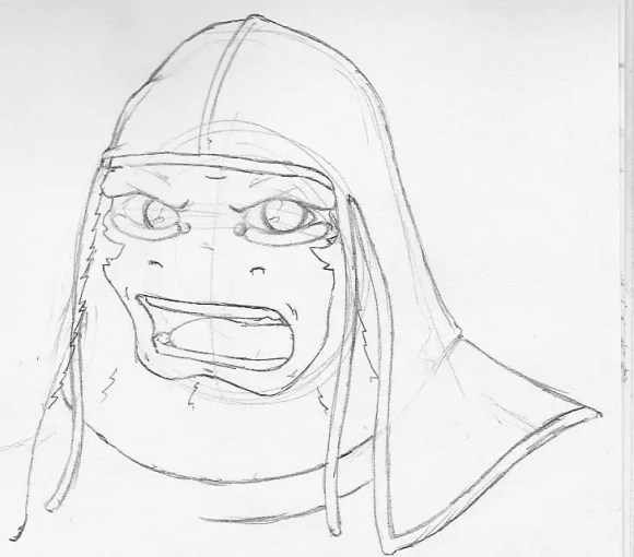 A sketch of G from Fish 'n' Chimps with a durag on.