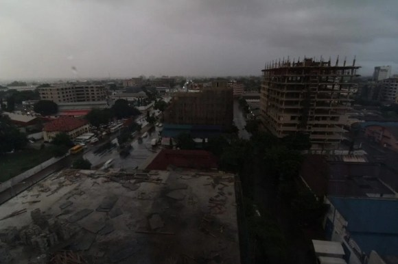 A picture overlooking Dar es Salaam from the Accomondia hotel window
