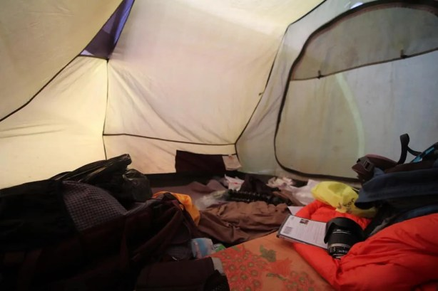 A picture of the interior of my tent and some of the random stuff I kept in it