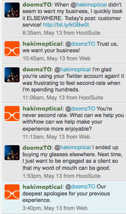 A screenshot of a Twitter exchange between Casey Palmer and Hakim Optical.