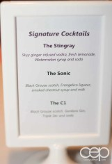 The 2014 Corvette Stingray Canada Reveal — Signature Cocktails: The Stingray — Skyy ginger infused vodka, fresh lemonade, Watermelon syrup and soda; The Sonic — Black Grouse scotch, Frangelico liquor, smoked chestnut syrup and milk; The C1 — Black Grouse scotch, Gordons Gin, Triple Sec and soda