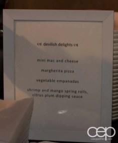 The 2014 Corvette Stingray Canada Reveal — Devilish Delights — mini mac and cheese; margherita pizza; vegetable empanadas; shrimp and mango spring rolls, citrus plum dipping sauce